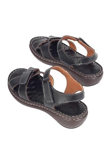Modabuymus Modabuymus Hakiki Deri  Anatomik Masaj nlı Cırtlı Sandalet - Softy Siyah